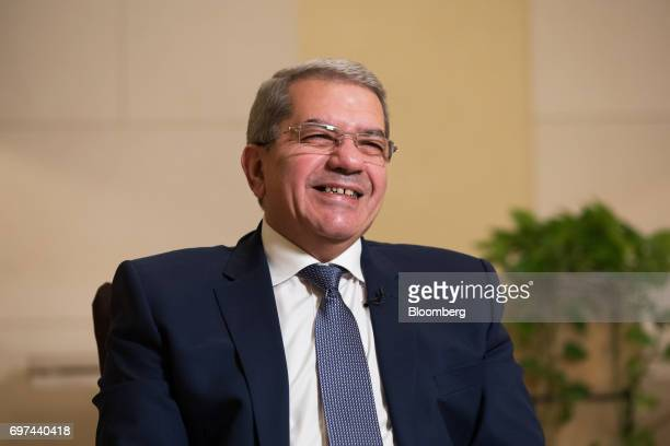 Amr ElGarhy Egypt's finance minister speaks during a Bloomberg Television interview on the sidelines of the Asian Infrastructure Investment Bank...