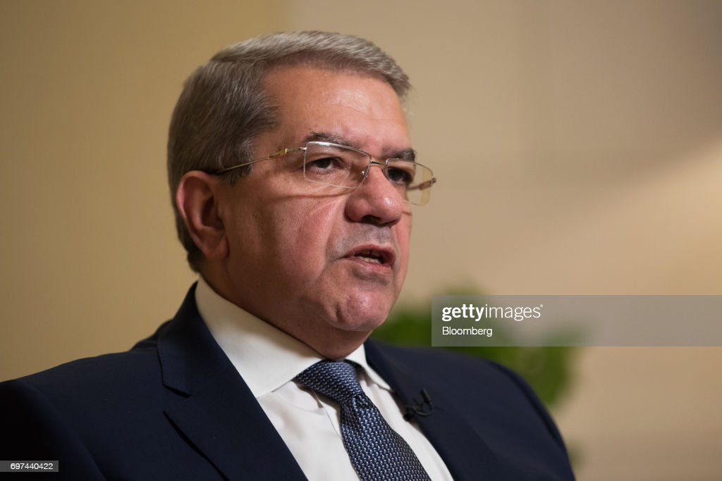 Amr El-Garhy, Egypt's finance minister, speaks during a Bloomberg Television interview on the sidelines of the Asian Infrastructure Investment Bank (AIIB) annual meeting in Jeju, South Korea, on Friday, June 16, 2017. Egypt's government isn't worried that high interest rates will have a negative impact on economic growth and the budget deficit because rates 'should not stay there in a high level for a long time,' El-Garhy said. Photographer: SeongJoon Cho/Bloomberg via Getty Images