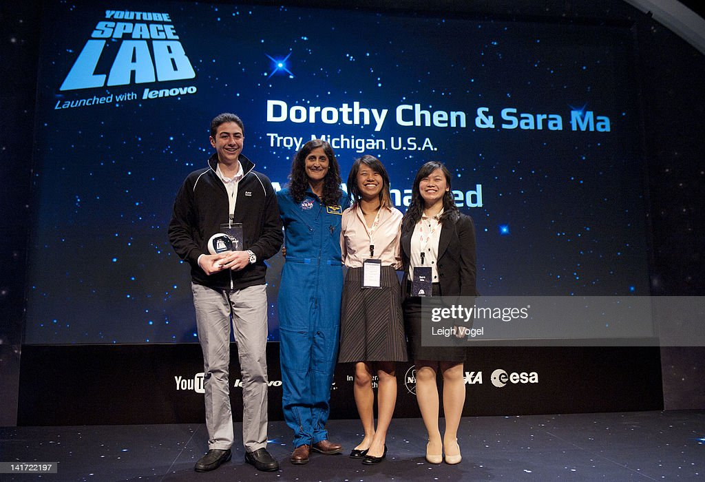 Amr Mohamed, <a gi-track='captionPersonalityLinkClicked' href=/galleries/search?phrase=Sunita+Williams&family=editorial&specificpeople=4001582 ng-click='$event.stopPropagation()'>Sunita Williams</a>, Dorothy Chen and Sara Ma attend the YouTube Space Lab Competition, where two winning teams, Amr Mohamed and Dorothy Chen and Sara Ma to have experiments performed in space at The Newseum on March 22, 2012 in Washington, DC.