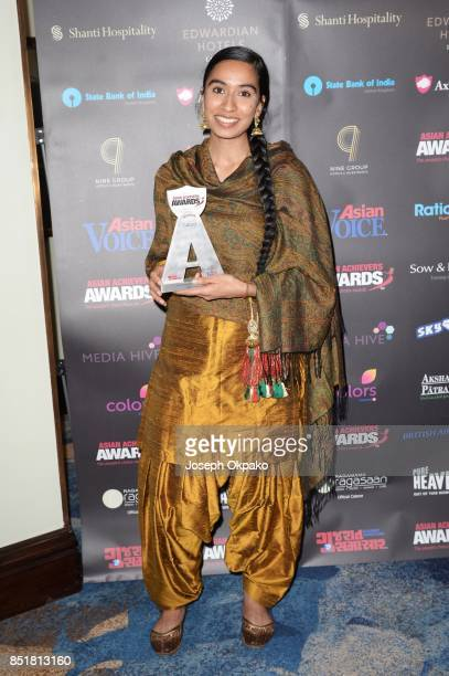Amrit Kaur Lohia accepts award for Achievement in Arts and Culture at the 17th Asian Achievers Awards at Grosvenor House on September 22 2017 in...