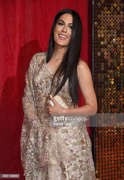 Amrit Maghera arrives for the British Soap Awards 2016 at the Hackney Town Hall Assembly Rooms on May 28 2016 in London England