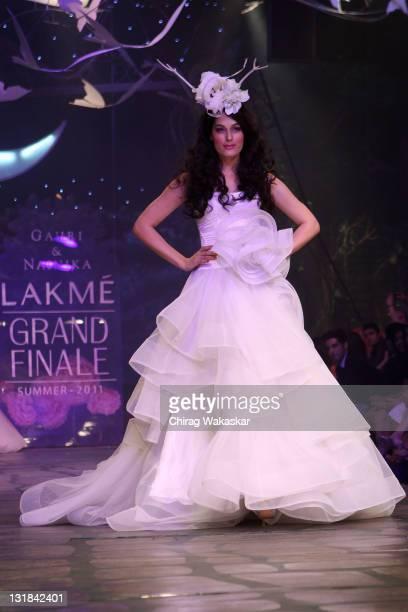 Amrit Maghera walks the runway at the Gauri Nainika show at Lakme Fashion Week Summer/ Resort 2011 day 5 at the Grand Hyatt on March 15 2011 in...