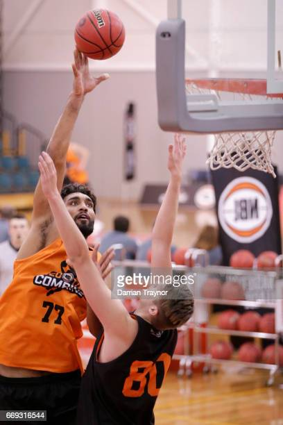 Amritpal Singh shoots the ball during the NBL Combine 2017/18 at Melbourne Sports and Aquatic Centre on April 17 2017 in Melbourne Australia