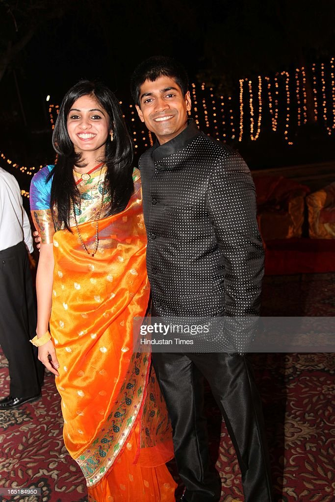 Amruta Yeravdekar with husband Anish Ruikar at the wedding reception of her brother Ameya Yeravdekar, grandson of educationist Dr SB Mujumdar and Swati Thorat at Delhi Gymkhana on March 22, 2013 in New Delhi, India.
