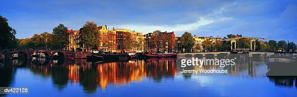 Amstel River and Magere Brug Bridge, Amsterdam, Holland