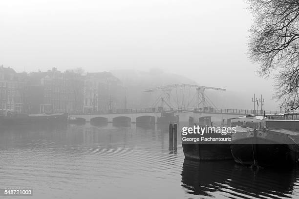 Amstel river on a day with fog