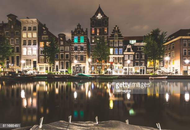 Amsterdam beautiful canal at night