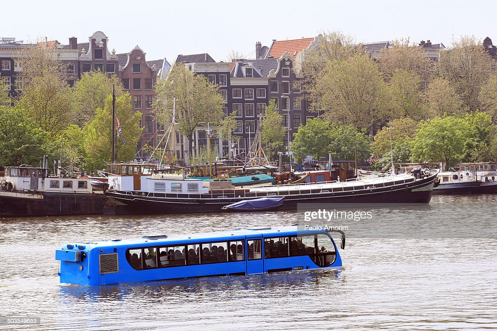 Amsterdam Bus Floating at Canal