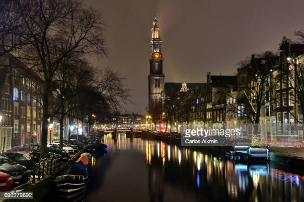 Amsterdam by night - Prinsengracht and the Westerkerk
