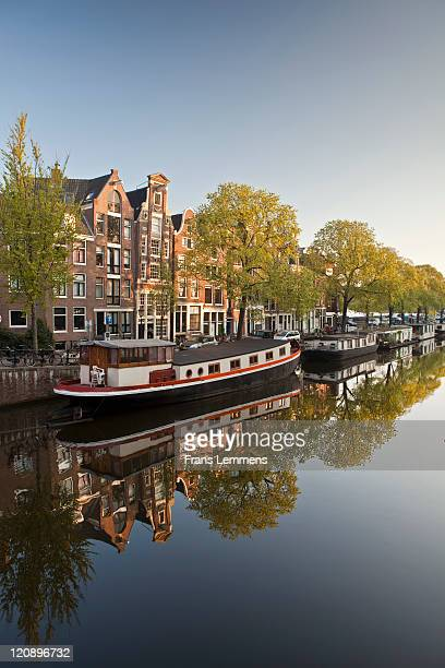 Amsterdam, canal houses and houseboats