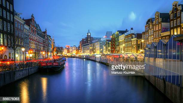 Amsterdam flower market canal at night