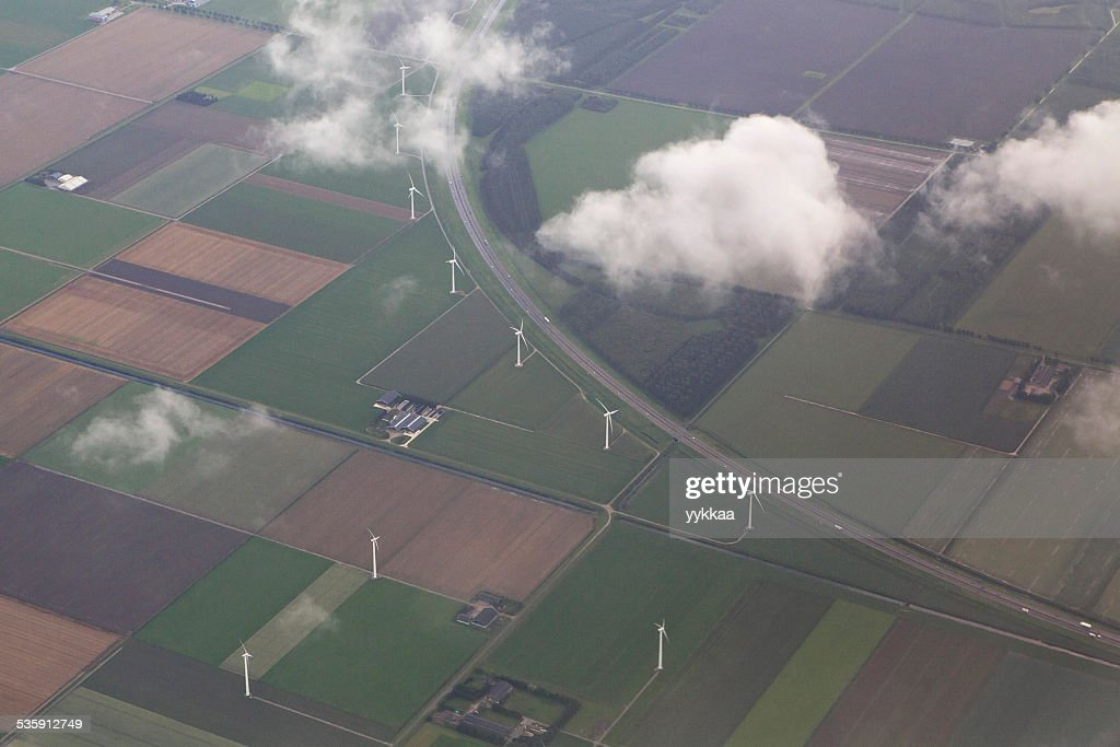 Amsterdam from the plane : Stock Photo