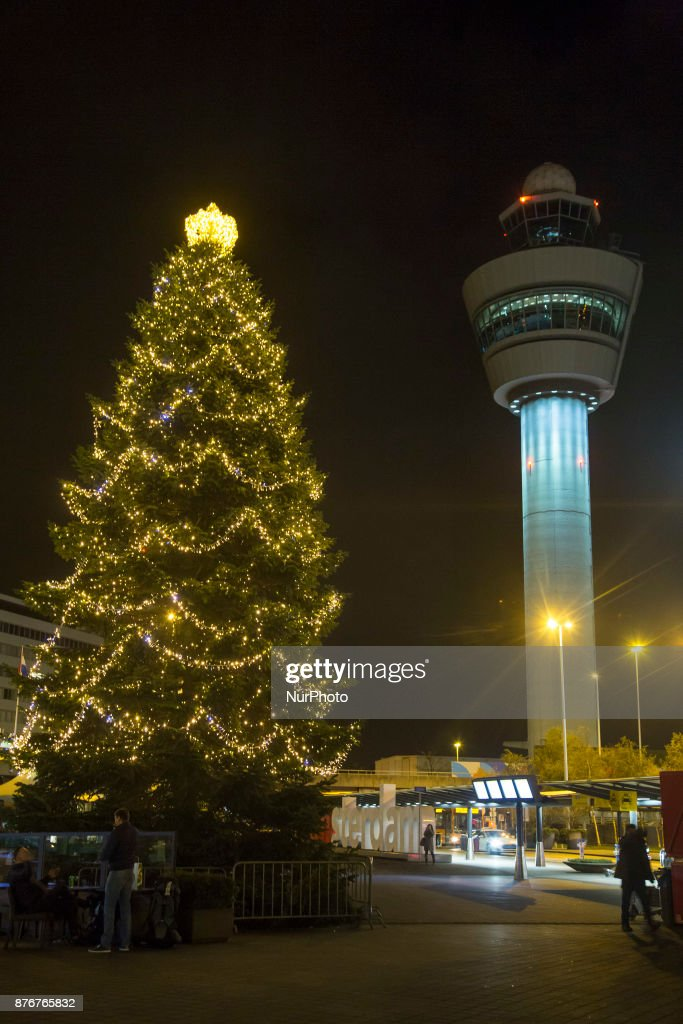 Amsterdam Schiphol Airport Terminal with Christmas decoration