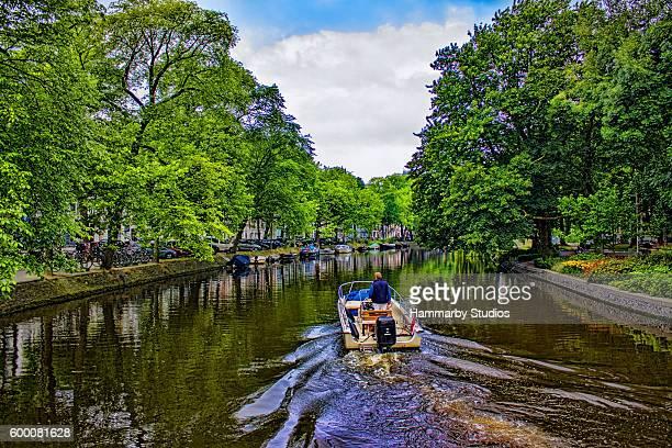 Amsterdam landscape in summertime in Netherlands