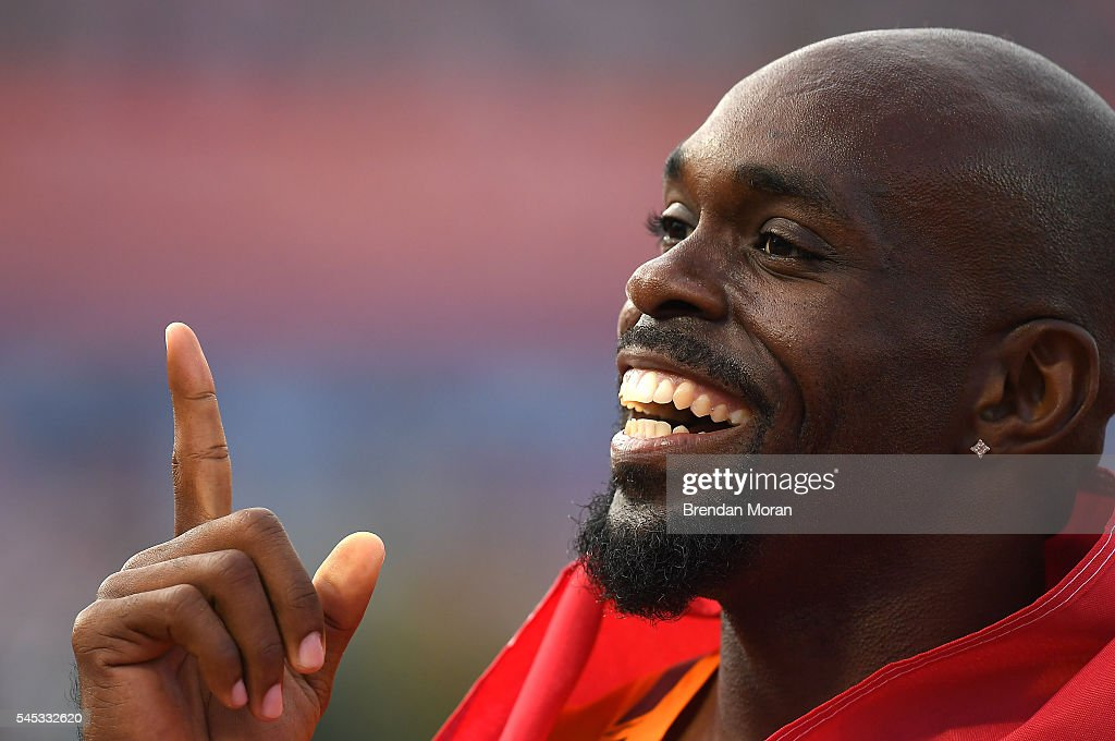 Amsterdam Netherlands 7 July 2016 Churandy Martina of Netherlands celebrates after winning the Men's 100m Final on day two of the 23rd European...