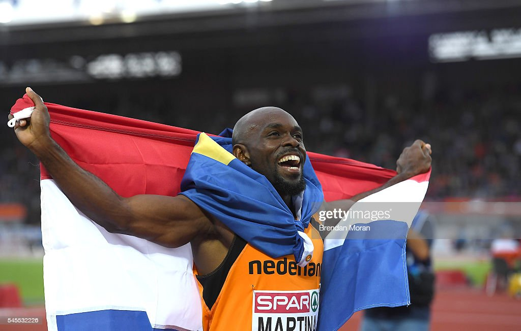 Amsterdam Netherlands 8 July 2016 Churandy Martina of the Netherlands celebrates after winning the Men's 200m Final before being subsequently...