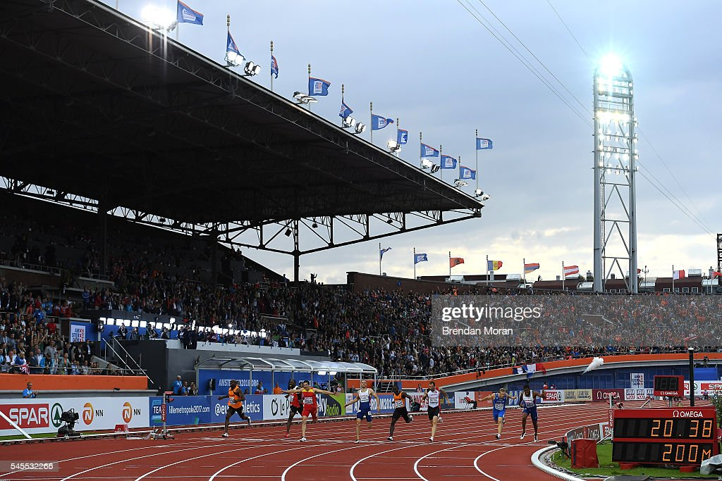 Amsterdam Netherlands 8 July 2016 Churandy Martina of the Netherlands crosses the finish line in first before being subsequently disqualified in the...