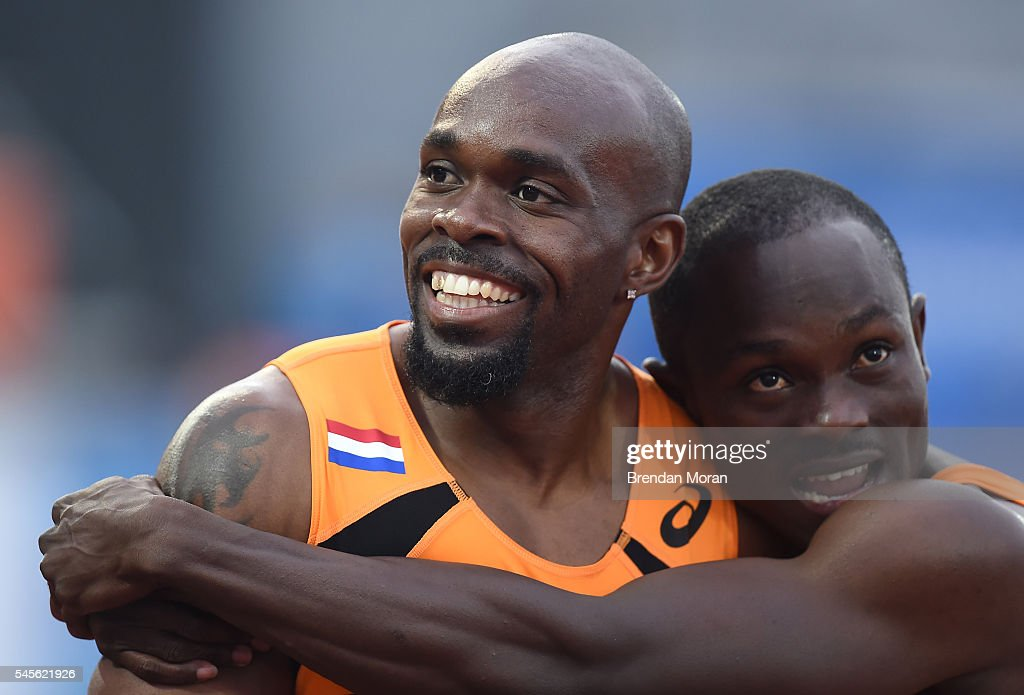 Amsterdam Netherlands 8 July 2016 Churandy Martina of the Netherlands celebrates with teammate Solomon Bockaire right after winning the Men's 200m...