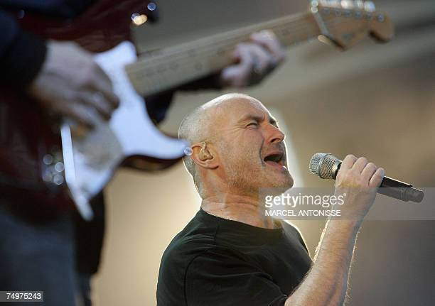 British Phil Collins performs during a concert of the band Genesis in Amsterdam 01 July 2007 as part of their 'Turn it on again' tour AFP...