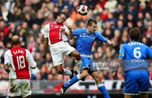 Danny Buijs of Feyenoord Rotterdam duels with Ajax Amsterdam's Edgard Davids during their Dutch premier league match in Amsterdam 04 February Ajax...