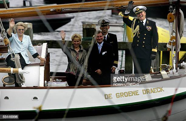 Dutch crown prince WillemAlexander with his mother Queen Beatrix are on hand to welcome the ships during the traditional naval review on his family...