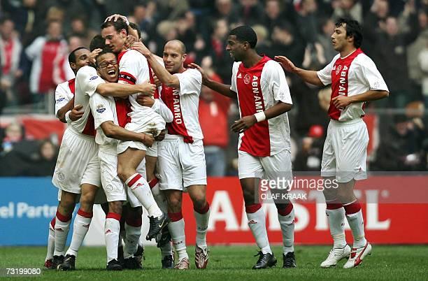 Edgar Davids Wesley Sneijder Leonardo Gabri Ryan Babel and George Ongararu of Ajax Amsterdam celebrate Sneijder's 10 against Feyenoord Rotterdam in...