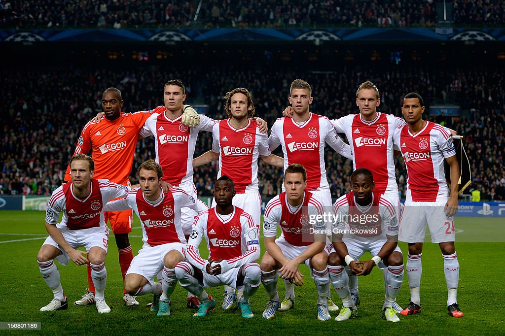 Amsterdam players pose for a team photo prior to the UEFA Champions League Group D match between Ajax Amsterdam and Borussia Dortmund at Amsterdam Arena on November 21, 2012 in Amsterdam, Netherlands.