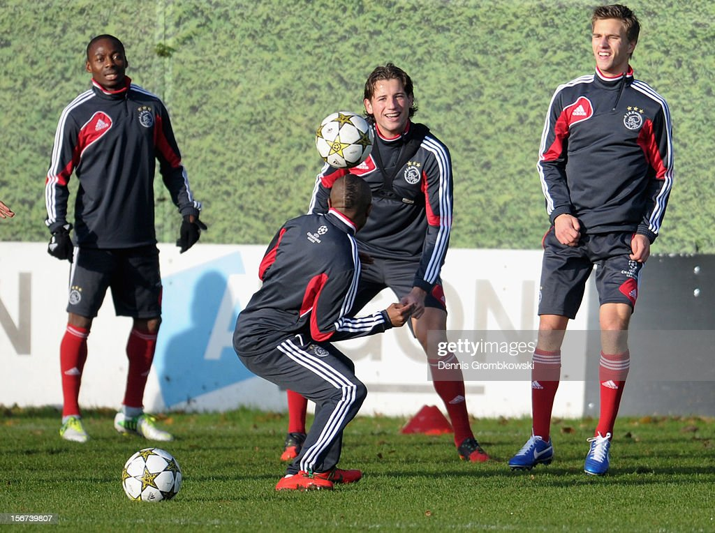 Amsterdam players practice during a training session ahead of the UEFA Champions League match against Borussia Dortmund on November 20, 2012 in Amsterdam, Netherlands.