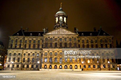 Amsterdam Royal Palace illuminated at night