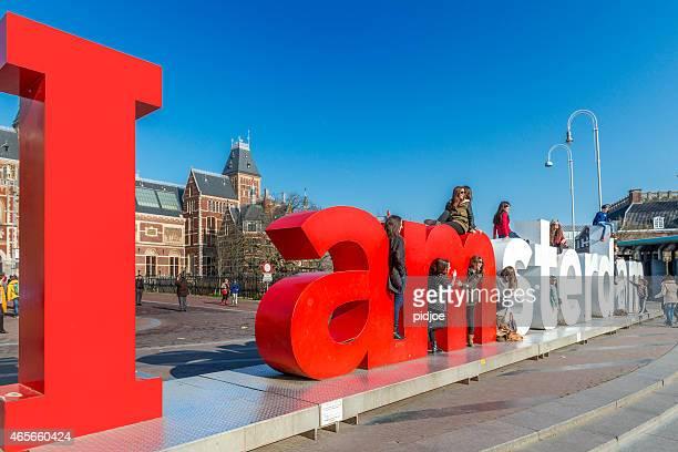 I amsterdam Panneau à Museumplein, Rijksmuseum dans le dos
