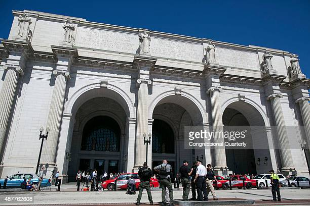 Amtrak and Washington DC patrol Union Station after a security guard shot a man wielding a knife that stabbed a woman near a fastfood restaurant in...