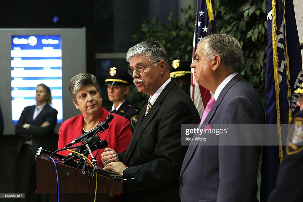 Amtrak President and CEO Joseph Boardman (C) speaks as U.S. Secretary of Homeland Security <a gi-track='captionPersonalityLinkClicked' href=/galleries/search?phrase=Janet+Napolitano&family=editorial&specificpeople=589781 ng-click='$event.stopPropagation()'>Janet Napolitano</a> (L) and Secretary of Transportation <a gi-track='captionPersonalityLinkClicked' href=/galleries/search?phrase=Ray+LaHood&family=editorial&specificpeople=598728 ng-click='$event.stopPropagation()'>Ray LaHood</a> listen during a news conference at Union Station October 4, 2012 in Washington, DC. A new partnership among the Department of Homeland Security (DHS), Department of Transportation (DOT) and Amtrak was announced at the news conference to train over 8,000 frontline transportation employees and Amtrak Police Department officers to combat human trafficking.