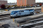 Amtrak train as photographed from the 18th Street bridge in Chicago Illinois on NOVEMBER 03 2013