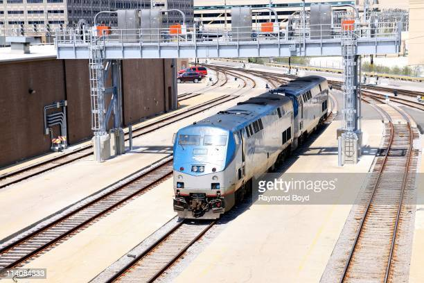 Amtrak trains sits in the Metra train station yard in Chicago Illinois on MAY 01 2011