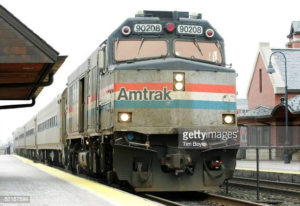 Amtrak's Hiawatha train from Milwaukee Wisconsin to Chicago arrives at the Amtrak station February 8 2005 in Glenview Illinois US Senator Dick Durbin...