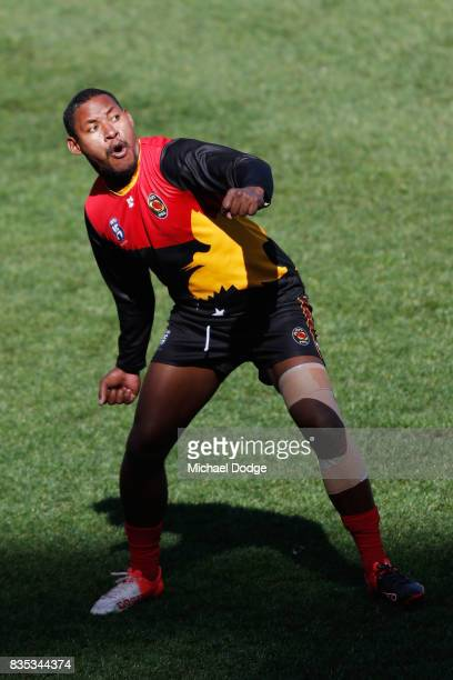 Amua Muzza Pirika of Papua New Guinea celebrates a goal during the 2017 AFL International Cup Grand FInal match between New Zealand and Papua New...