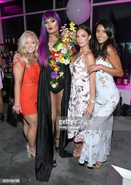 Amuna Davis with Clarisonic team at the FACE Awards International Welcome Party at Andaz Hotel on August 16 2017 in Los Angeles California