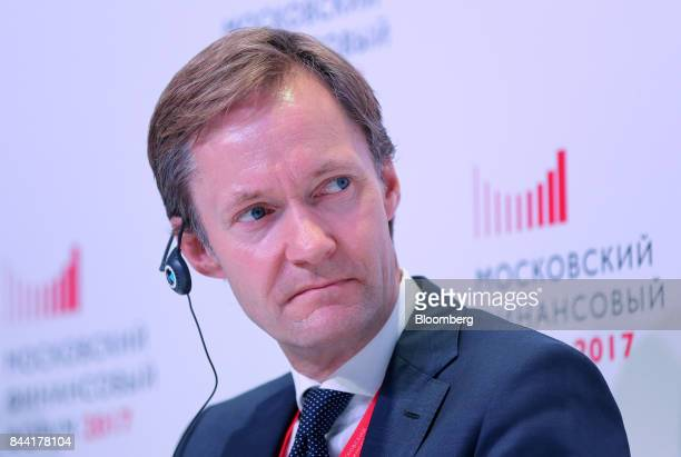 Amund Holmsen Norway's deputy finance minister looks on during a panel session at the Moscow Financial Forum in Moscow Russia on Friday Sept 8 2017...