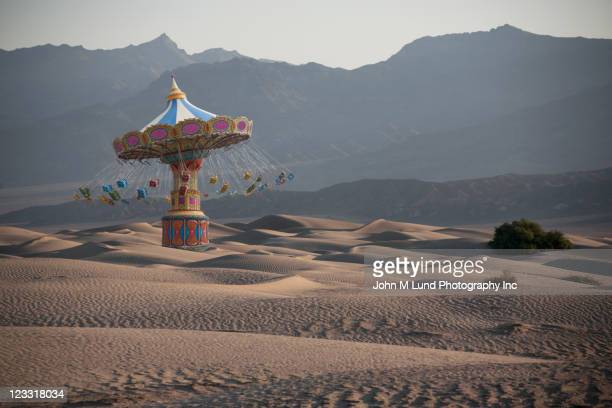 Amusement park ride in desert