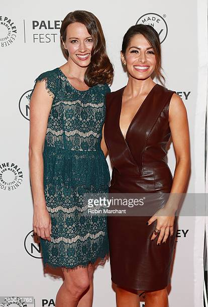 Amy Acker and Sarah Shahi attend the 'Person of Interest' panel during 2013 PaleyFest Made In New York at The Paley Center for Media on October 3...