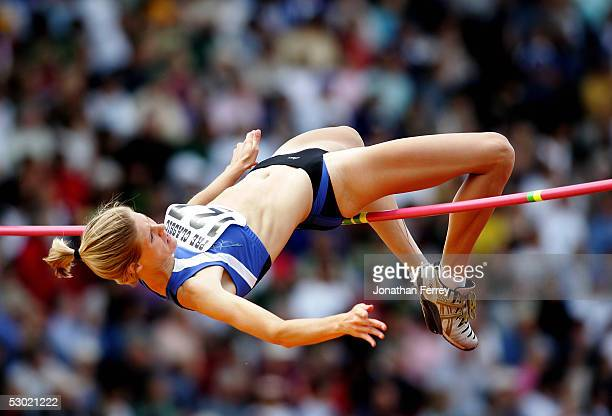 Amy Acuff competes in the Women's High Jump during the 2005 Nike Prefontaine Classic Grand Prix on June 4 2005 at Hayward Field in Eugene Oregon