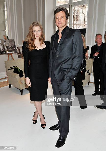 Amy Adams and Colin Firth attend BAFTA nomination lunch hosted by Momentum Pictures at Corinthia Hotel London on February 12 2011 in London England