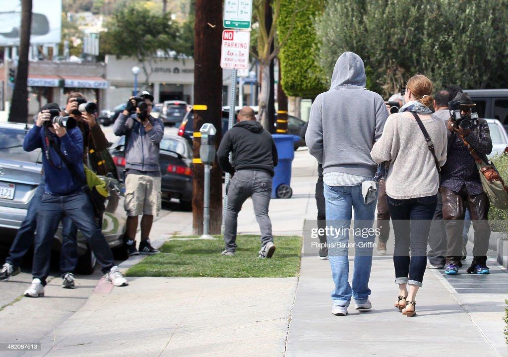 Amy Adams and Darren Le Gallo are seen on April 02, 2014 in Los Angeles, California.