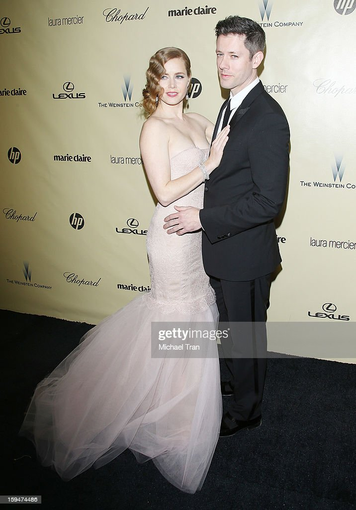 Amy Adams and Darren Le Gallo arrive at The Weinstein Company's 2013 Golden Globes after party held at The Beverly Hilton Hotel on January 13, 2013 in Beverly Hills, California.