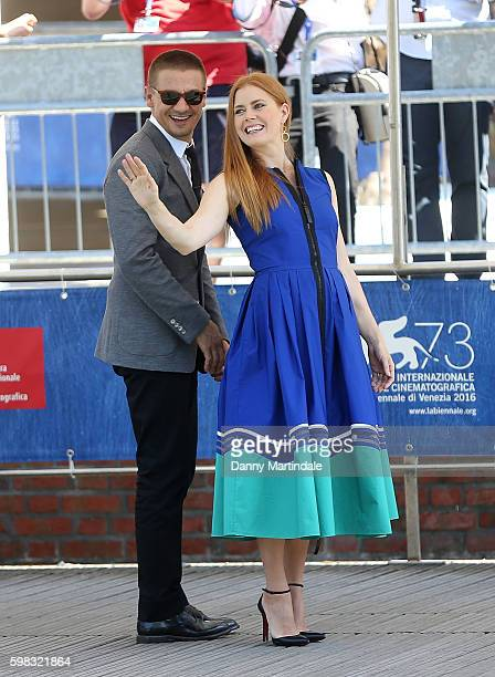 Amy Adams and Jeremy Renner arrive at the Arrival' Photocall on a boat at the 73rd Venice Film Festival on September 1 2016 in Venice Italy