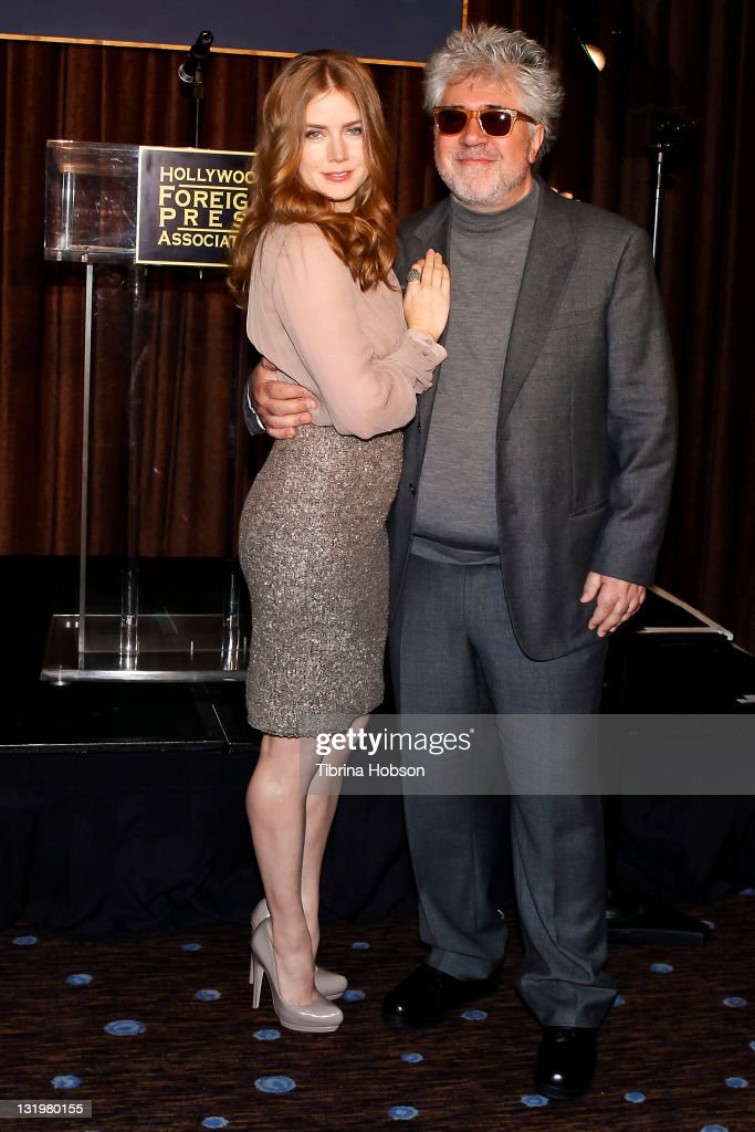 <a gi-track='captionPersonalityLinkClicked' href=/galleries/search?phrase=Amy+Adams&family=editorial&specificpeople=213938 ng-click='$event.stopPropagation()'>Amy Adams</a> and <a gi-track='captionPersonalityLinkClicked' href=/galleries/search?phrase=Pedro+Almodovar&family=editorial&specificpeople=202502 ng-click='$event.stopPropagation()'>Pedro Almodovar</a> attend the Hollywood Foreign Press Association's Cecil B. DeMille Award recipient announcement at The Beverly Hilton hotel on November 9, 2011 in Beverly Hills, California.