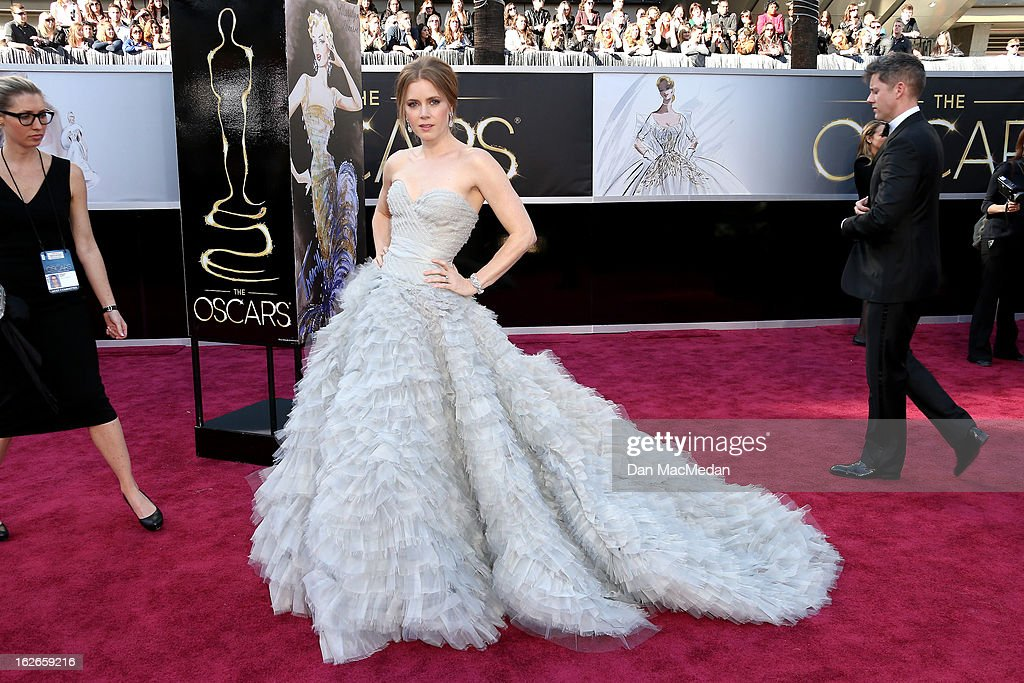 Amy Adams arrives at the 85th Annual Academy Awards at Hollywood Highland Center on February 24 2013 in Hollywood California