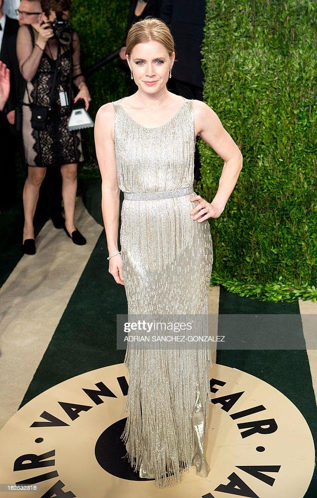 Amy Adams arrives for the 2013 Vanity Fair Oscar Party on February 24, 2013 in Hollywood, California. AFP PHOTO / ADRIAN SANCHEZ-GONZALEZ