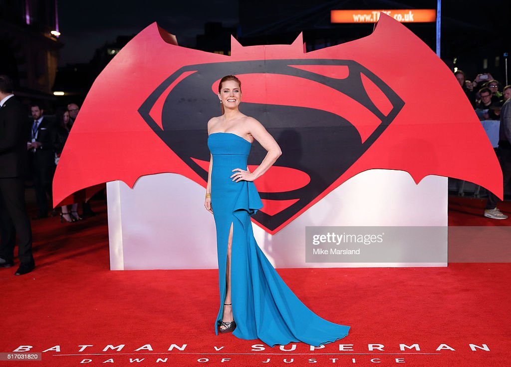 Amy Adams arrives for the European Premiere of 'Batman V Superman: Dawn Of Justice' at Odeon Leicester Square on March 22, 2016 in London, England.