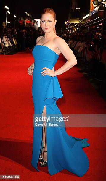 Amy Adams attends the European Premiere of 'Batman V Superman Dawn Of Justice' at Odeon Leicester Square on March 22 2016 in London England